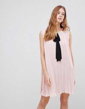 photo Contrast Bow Dress by Vila, color Peach Whip - Image 1