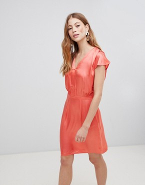 photo V-Neck Silky Dress by Vila, color Deep Sea Coral - Image 1