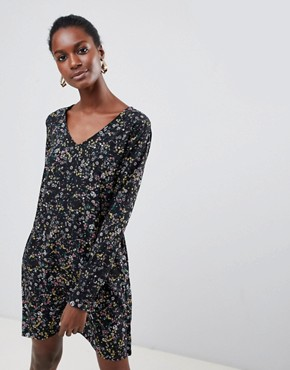 photo Floral Shift Dress by Vila, color Black - Image 1