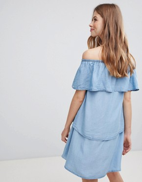 photo Denim Tiered Off Shoulder Dress by Vila, color Light Blue Denim - Image 2