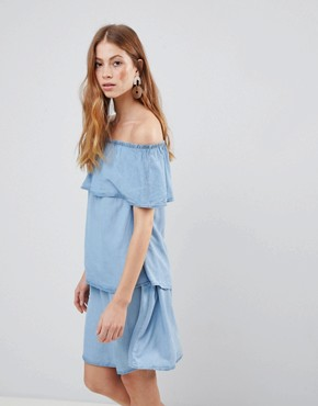 photo Denim Tiered Off Shoulder Dress by Vila, color Light Blue Denim - Image 1