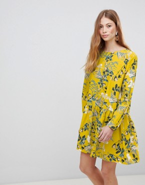 photo Floral Smock Dress by Vila, color Nugget Gold - Image 1