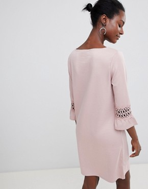 photo Lace Sleeve Insert Shift Dress by Vila, color Adobe Rose - Image 2