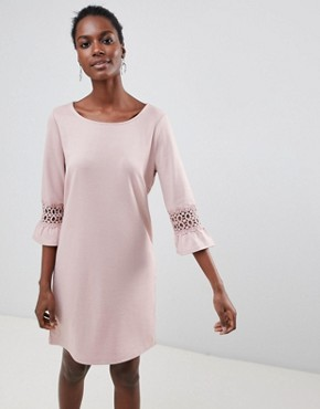 photo Lace Sleeve Insert Shift Dress by Vila, color Adobe Rose - Image 1