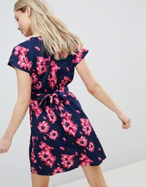 photo Floral Tulip Dress by QED London, color Navy - Image 2