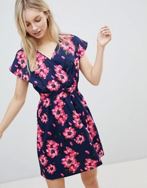 photo Floral Tulip Dress by QED London, color Navy - Image 1