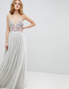 photo Cami Strap Maxi Dress with Open Back by Needle & Thread, color Bleached Blue - Image 2