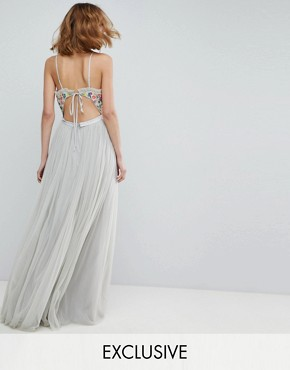photo Cami Strap Maxi Dress with Open Back by Needle & Thread, color Bleached Blue - Image 1