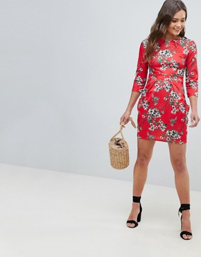 photo 3/4 Sleeve Tulip Dress in Floral Print by QED London, color Red - Image 4