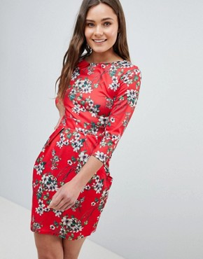 photo 3/4 Sleeve Tulip Dress in Floral Print by QED London, color Red - Image 1