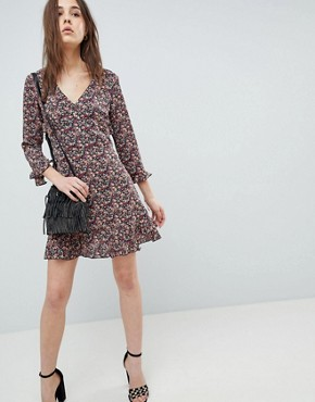 photo Floral Skater Dress with Frill Detail by QED London, color Multi - Image 1