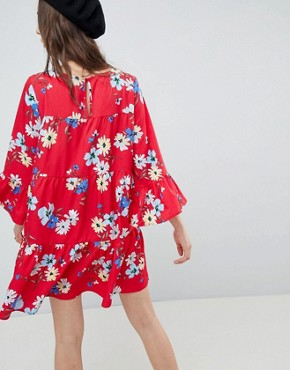 photo Frill Detail Smock Dress in Floral Print by QED London, color Red - Image 2