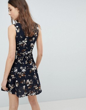 photo Floral Skater Dress with Lace Up Detail by QED London, color Navy - Image 2