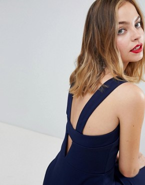 photo Cut Out Maxi Dress with Thigh Split by ASOS DESIGN Petite, color Navy - Image 2