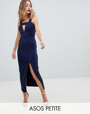 photo Cut Out Maxi Dress with Thigh Split by ASOS DESIGN Petite, color Navy - Image 1