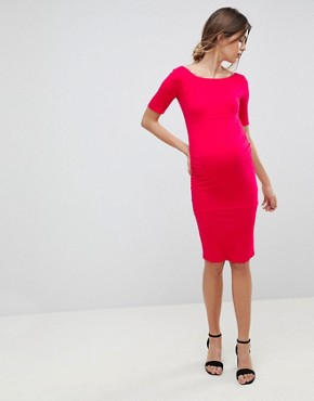 photo Bardot Dress with Half Sleeve by ASOS Maternity, color Bright Pink - Image 4