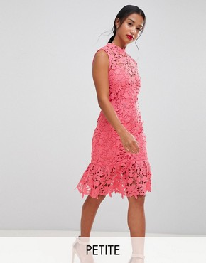 photo High Neck Lace Dress with Pephem by Paper Dolls Petite, color Coral - Image 1