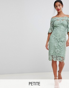 photo Off Shoulder Crochet Dress with Frill Sleeve by Paper Dolls Petite, color Mint - Image 1