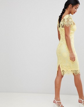 photo Cap Sleeve Sweetheart Detail All Over Crochet Lace Pencil Dress by Paper Dolls Petite, color Yellow - Image 2