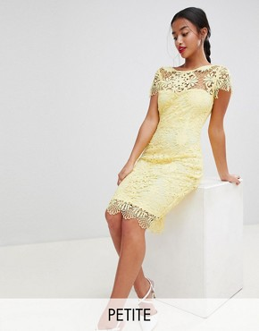 photo Cap Sleeve Sweetheart Detail All Over Crochet Lace Pencil Dress by Paper Dolls Petite, color Yellow - Image 1