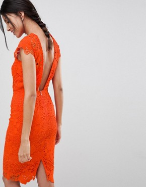 photo Lace Dress with Scalloped Back by Paper Dolls Tall, color Tangerine Orange - Image 2