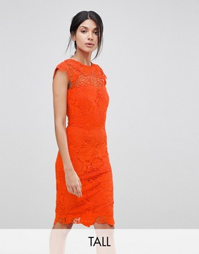 photo Lace Dress with Scalloped Back by Paper Dolls Tall, color Tangerine Orange - Image 1
