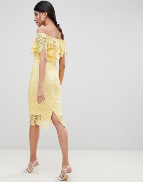 photo Bardot Lace Pencil Dress with Frill Detail by Paper Dolls Tall, color Yellow - Image 2