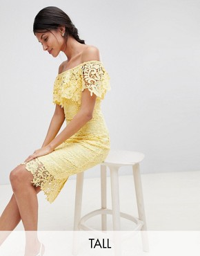 photo Bardot Lace Pencil Dress with Frill Detail by Paper Dolls Tall, color Yellow - Image 1