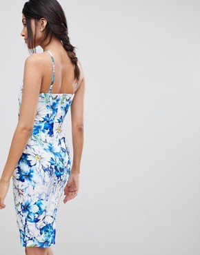 photo Sleeveless Printed Pencil Dress with Keyhole Detail by Paper Dolls Tall, color Multi - Image 2