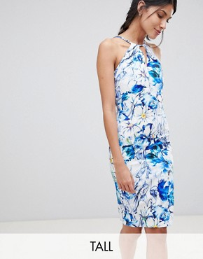photo Sleeveless Printed Pencil Dress with Keyhole Detail by Paper Dolls Tall, color Multi - Image 1