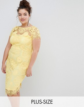 photo Cap Sleeve Sweetheart Detail All Over Crochet Lace Pencil Dress by Paper Dolls Plus, color Yellow - Image 1