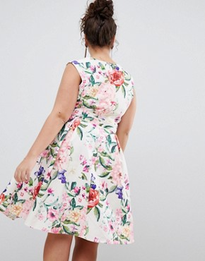 photo Sweetheart Floral Printed Prom Dress by Paper Dolls Plus, color Multi - Image 2