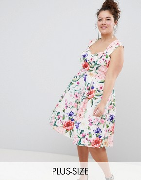 photo Sweetheart Floral Printed Prom Dress by Paper Dolls Plus, color Multi - Image 1