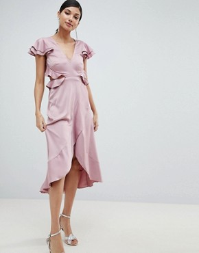 photo Ruffle Midi Dress in Rippled Satin with Cut Out Back by ASOS DESIGN Tall, color Blush - Image 2