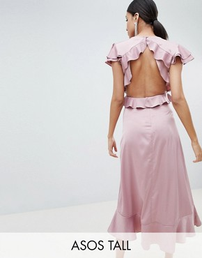 photo Ruffle Midi Dress in Rippled Satin with Cut Out Back by ASOS DESIGN Tall, color Blush - Image 1