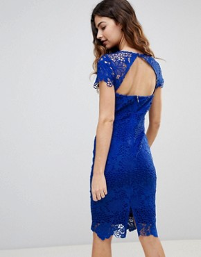 photo Cap Sleeve Sweetheart Detail All Over Crochet Lace Pencil Dress by Paper Dolls, color Cobalt - Image 2