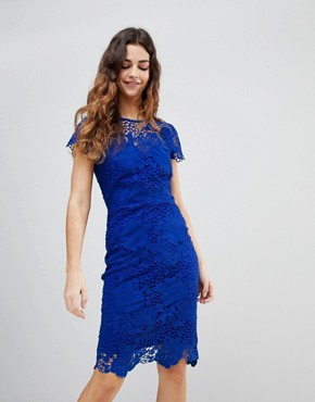 photo Cap Sleeve Sweetheart Detail All Over Crochet Lace Pencil Dress by Paper Dolls, color Cobalt - Image 1