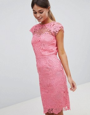photo Lace Dress with Scalloped Back by Paper Dolls, color Coral - Image 1