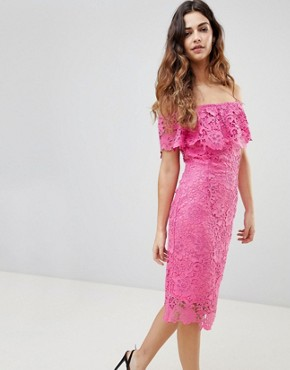 photo Bardot Lace Pencil Dress with Frill Detail by Paper Dolls, color Hot Pink - Image 1