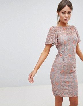 photo Two Tone Lace Pencil Dress by Paper Dolls, color Grey/Coral - Image 1