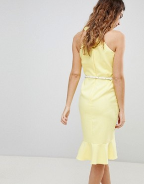 photo Sleeveless Ruffle Detail Dress with Belt by Paper Dolls, color Yellow - Image 2