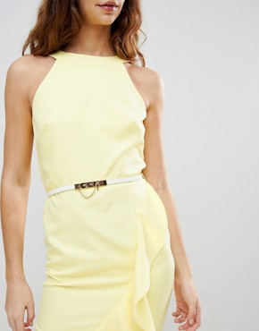 photo Sleeveless Ruffle Detail Dress with Belt by Paper Dolls, color Yellow - Image 3