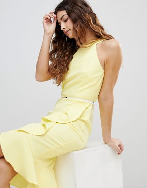 photo Sleeveless Ruffle Detail Dress with Belt by Paper Dolls, color Yellow - Image 4