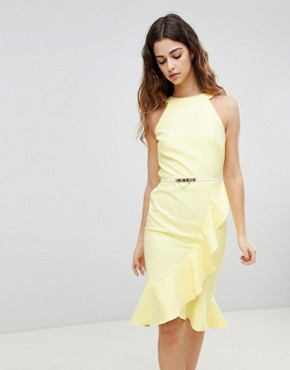 photo Sleeveless Ruffle Detail Dress with Belt by Paper Dolls, color Yellow - Image 1