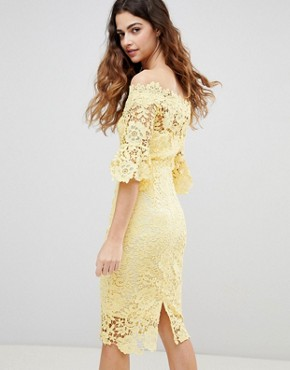photo Off Shoulder Crochet Dress with Frill Sleeve by Paper Dolls, color Yellow - Image 2