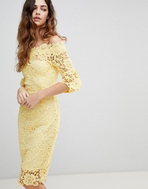 photo Off Shoulder Crochet Dress with Frill Sleeve by Paper Dolls, color Yellow - Image 1