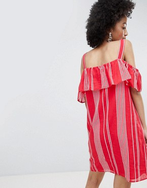 photo Stripe Cold Shoulder Button Through Dress by Only, color Multi - Image 2