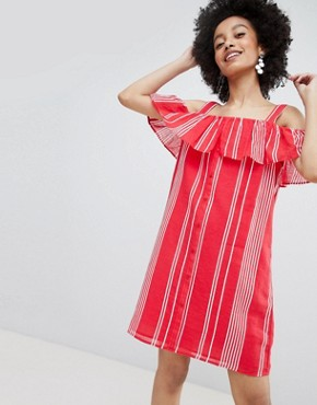 photo Stripe Cold Shoulder Button Through Dress by Only, color Multi - Image 1