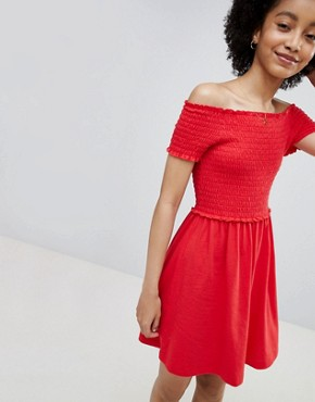 photo Smock Short Sleeve Dress by Only, color Red - Image 1