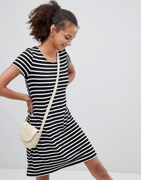 photo Jersey Stripe Dress with Cross Strap Detail by Only, color Multi - Image 2